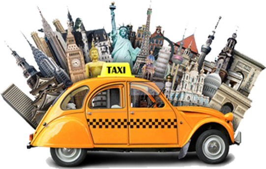Yellow taxi in front of international landmarks to show virtual local presence.