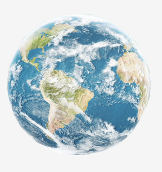 A blue globe with clouds to signify international reach.