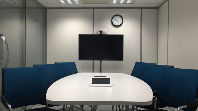 An Empty Conference Room To Visualise A Teleconference.